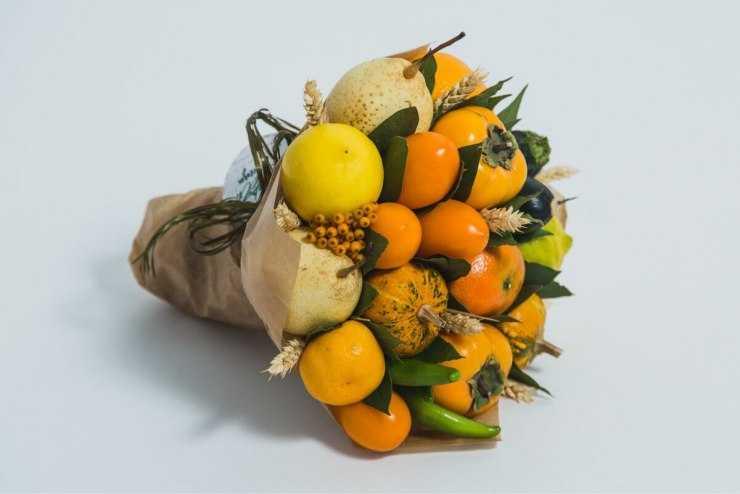Букет из фруктов: как своими руками собрать и оформить красивый фруктовый букет (100 фото)