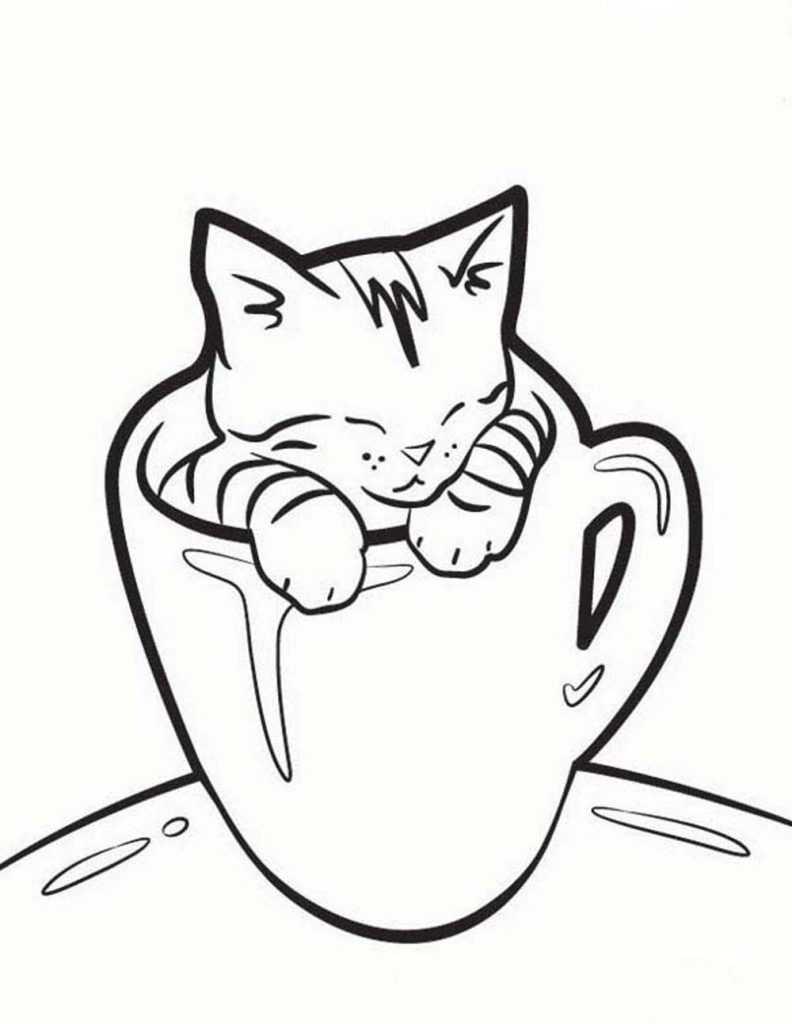 Картинки кошки и котенка для срисовки