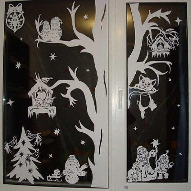 Новогодние узоры на стекло из бумаги фото