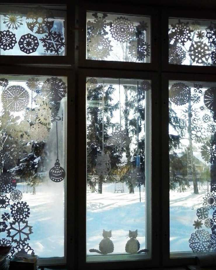 Фото картинок на окна к новому году