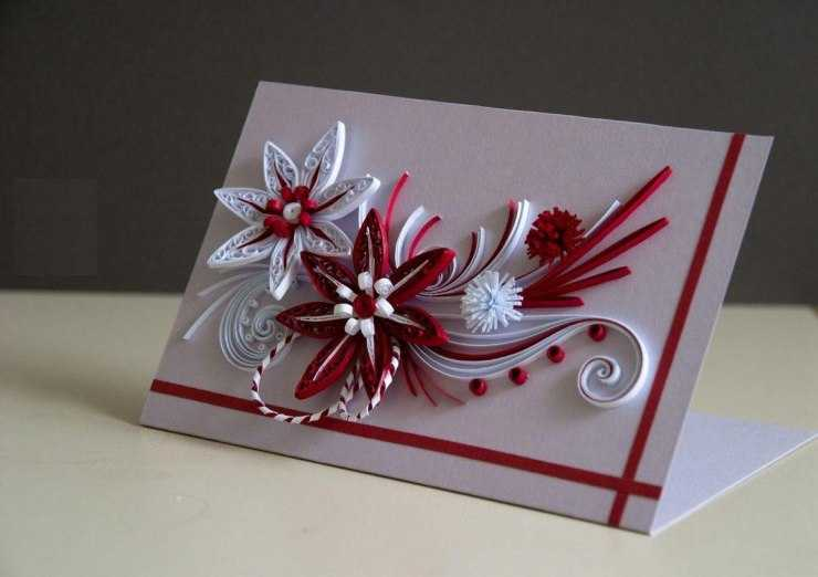 Новогодние открытки в стили квиллинг