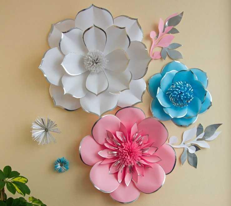 бумажные цветы на стену своими руками шаблоны двп