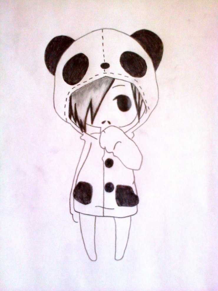 Рисунки милых пандочек карандашом для срисовки